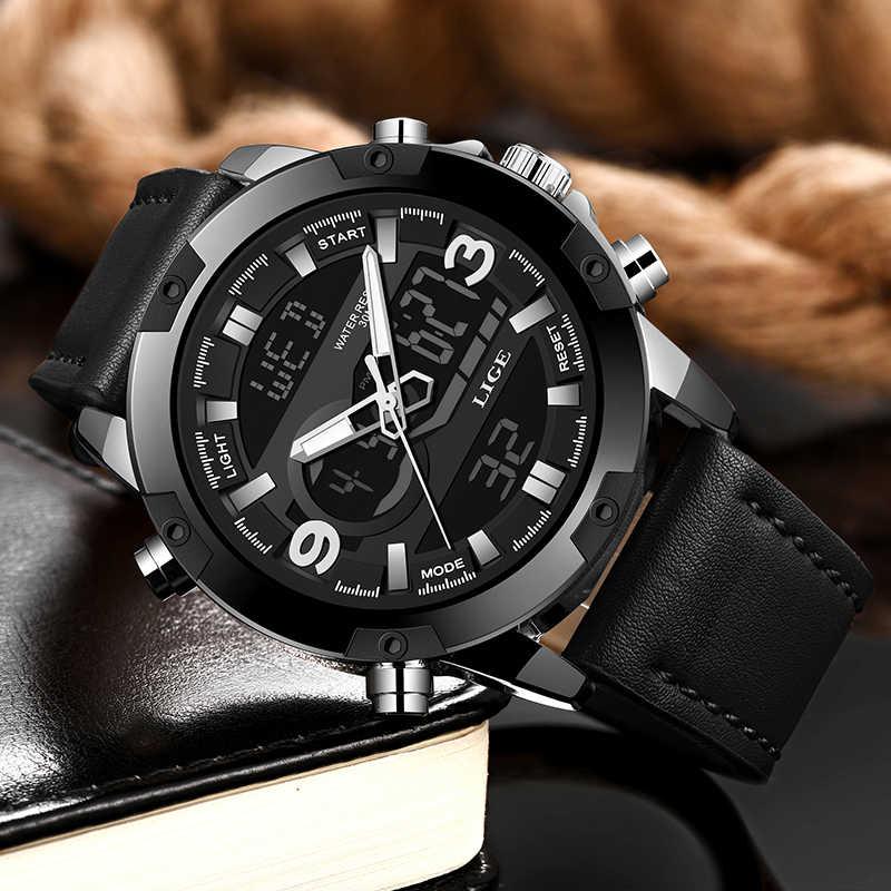 Horloges Mannen LIGE 패션 남자의 LED 스포츠 쿼츠 시계 남자 다기능 방수 날짜 빛나는 손목 시계 남자 시계 + 상자