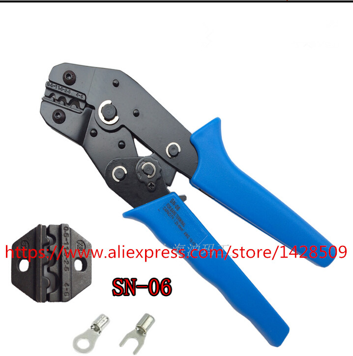 SN-06 Cold-pressed Pin Crimping tools multi  Insulated Terminals Crimping Plier 0.25-6mm for 20-10AWG wire pneumatic crimping tools plier with 15 sets of dies