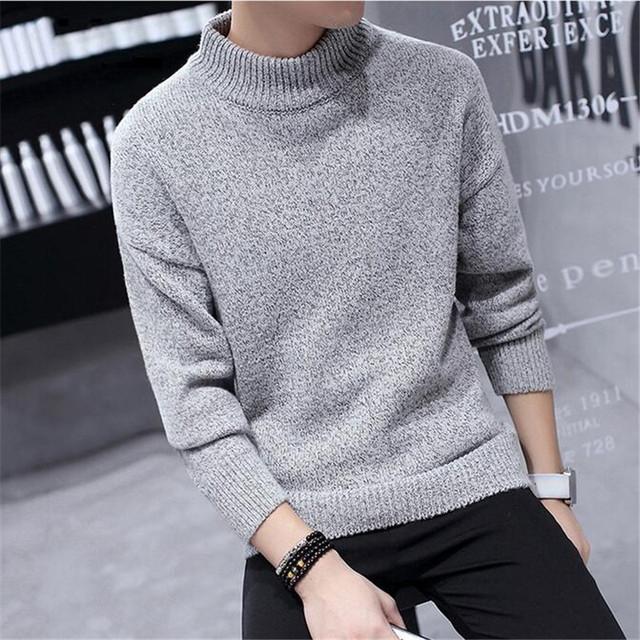 2017 Primavera de Malha Blusas de Cores Sólidas Homens Pulôveres de Gola Alta Moda Estilo Coreano Slim Fit Masculina Meninos Presentes Especiais