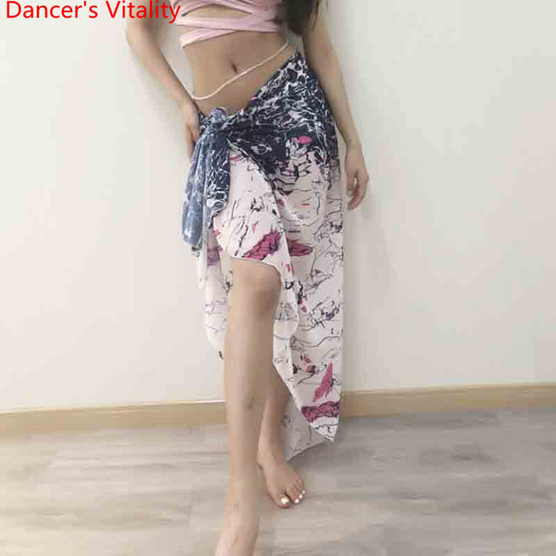 2018 New Lady Girl Women Belly Dance Clothing Printed Chiffon Clothes Costume Waist Skirt Hip Scarf Competition Performance Set