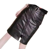 2019 New Fashion Spring Autumn Black Women Genuine Leather Skirt Mini Short Straight Tight Pencil Skirt for Sexy Lady A077