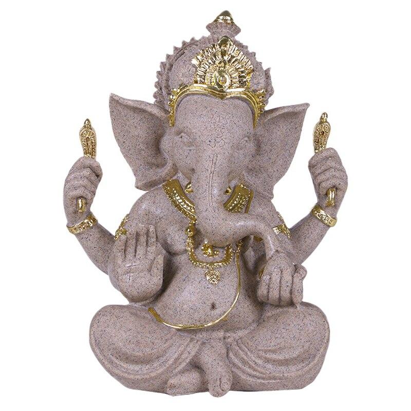 Creative Resin Elephant God Sculpture Ornaments Vintage Sandstone Indian Elephant God Post Gold Figurines Home Decoration Gifts