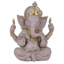 Wholesale Resin Elephant God Sculpture Ornaments Home Decoration Accessories Sandstone Figurines Crafts Buddha Statue Desk Decor(China)