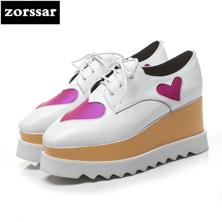 {Zorssar} 2018 NEW Genuine Leather womens Platform shoes casual Lace-up Round toe Wedges High heels women Creepers shoes genuine cow leather spring shoes wedges soft outsole womens casual platform shoes high heel round toe handmade shoes for women