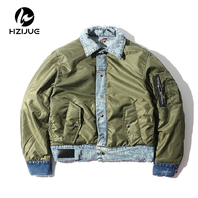 HZIJUE 2018 new thick men jacket Double-sided wear MA-1 bomber denim jackets destroy hole mens coat of winter high street