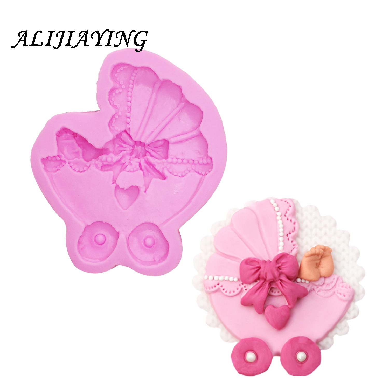 1Pcs Lovely Baby carriage Shape For Silicone Cake Molds Fondant Cake Decorate baby shower favour gifts D0911 in Cake Molds from Home Garden