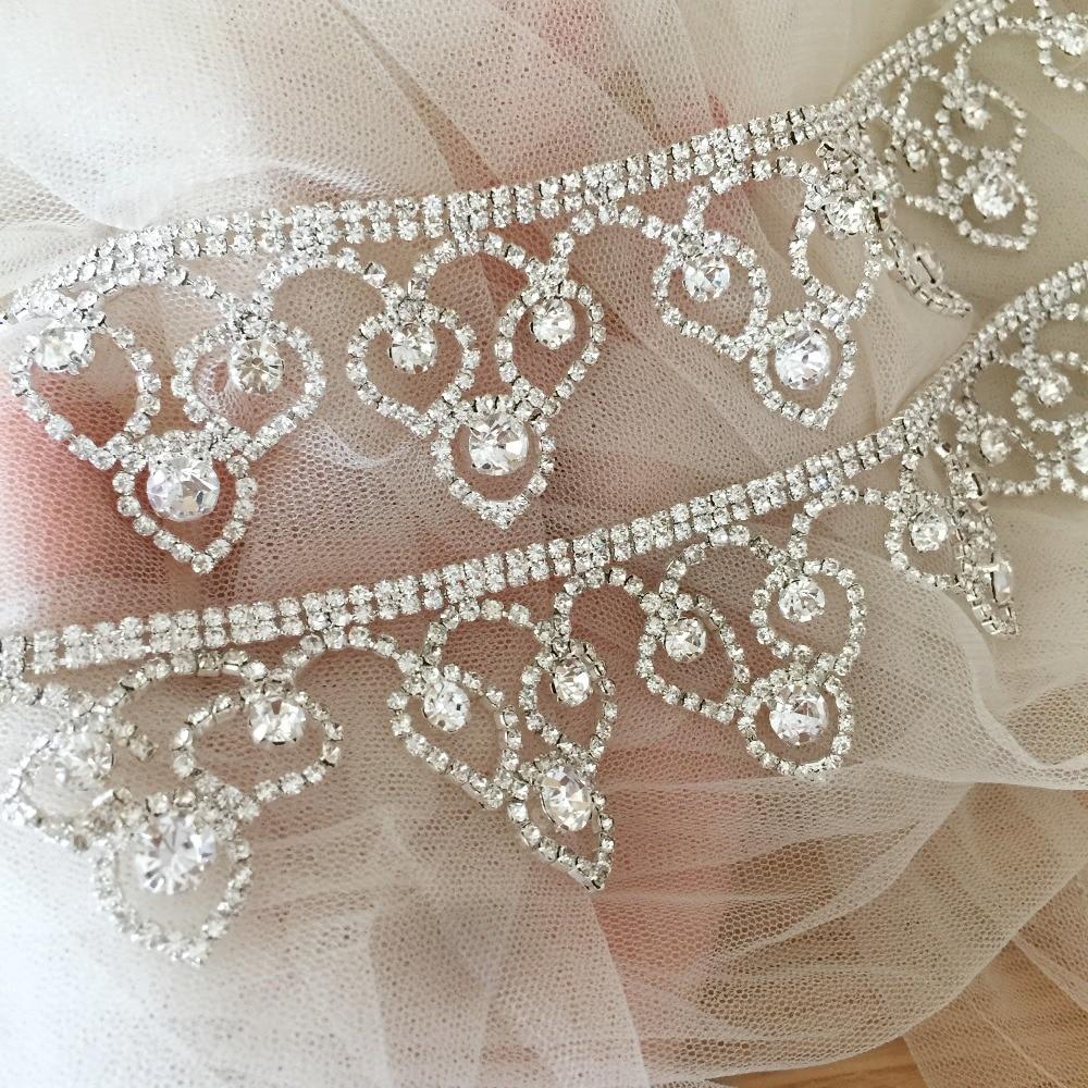 1 Yard Thin Sweet Heart Silver rhinestone trim , belt trim, bridesmaid dress, wedding gown bridal sash