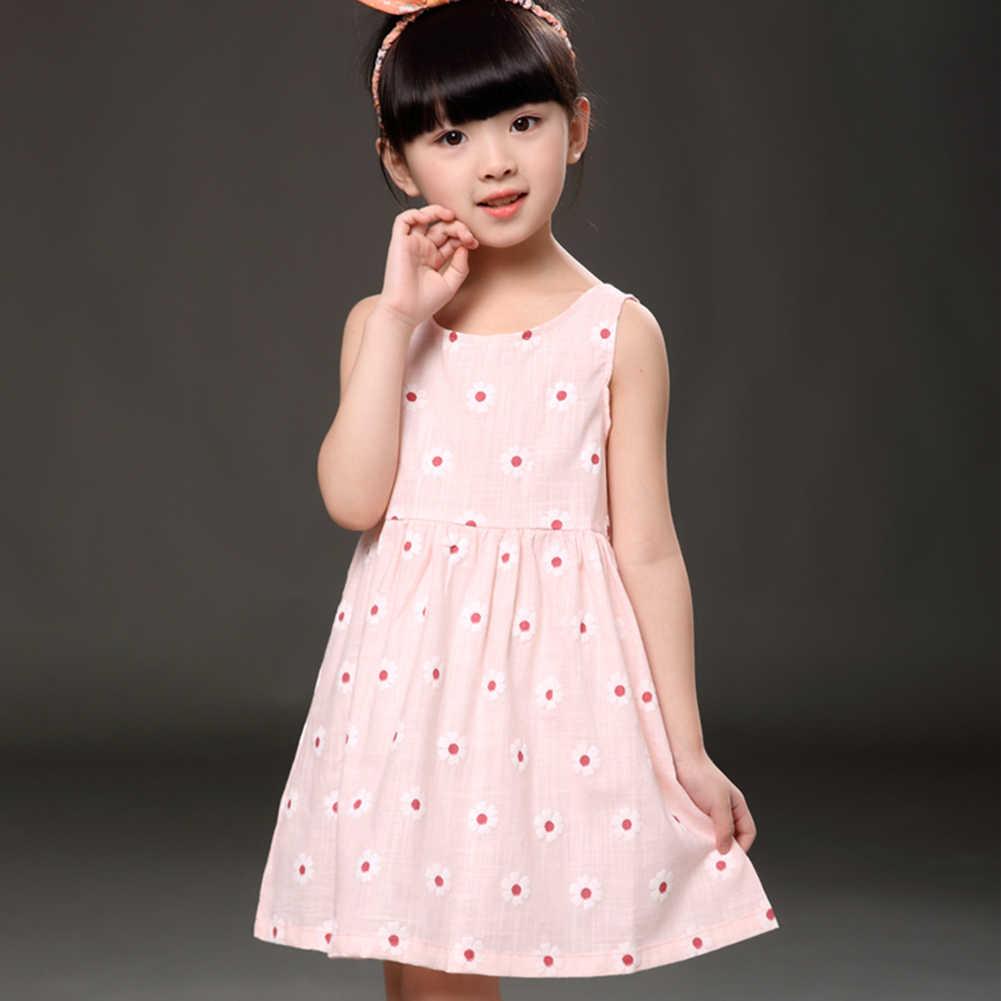 Летнее Детское платье детское платье без рукавов с цветочным принтом для девочек мягкие хлопковые платья принцессы Одежда для девочек платье с открытой спиной и цветочным рисунком