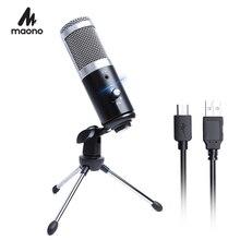 MAONO USB stüdyo mikrofonu profesyonel kondenser Podcast bilgisayar mikrofon için Tripod ile Karaoke Youtube oyun kayıt