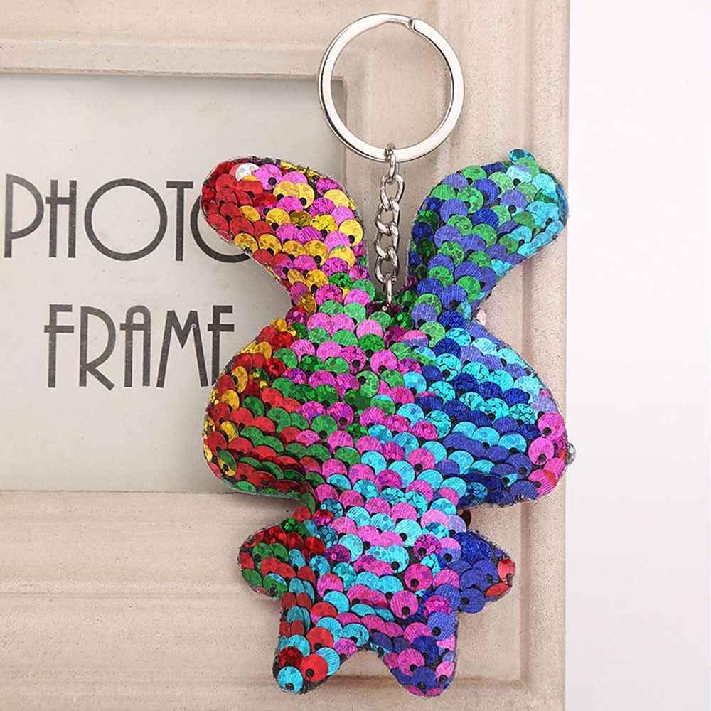 Simples chave de cadeia Glitter Lantejoulas Pompom Chaveiro Saco Chaveiro Carro Coelho Artificial Peles de Animais Chaveiros Para A Mulher