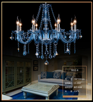 modern personality Luxurious Blue Color Maria Theresa Crystal Chandelier Lamp Home Decoration lampadario Restaurant lighting
