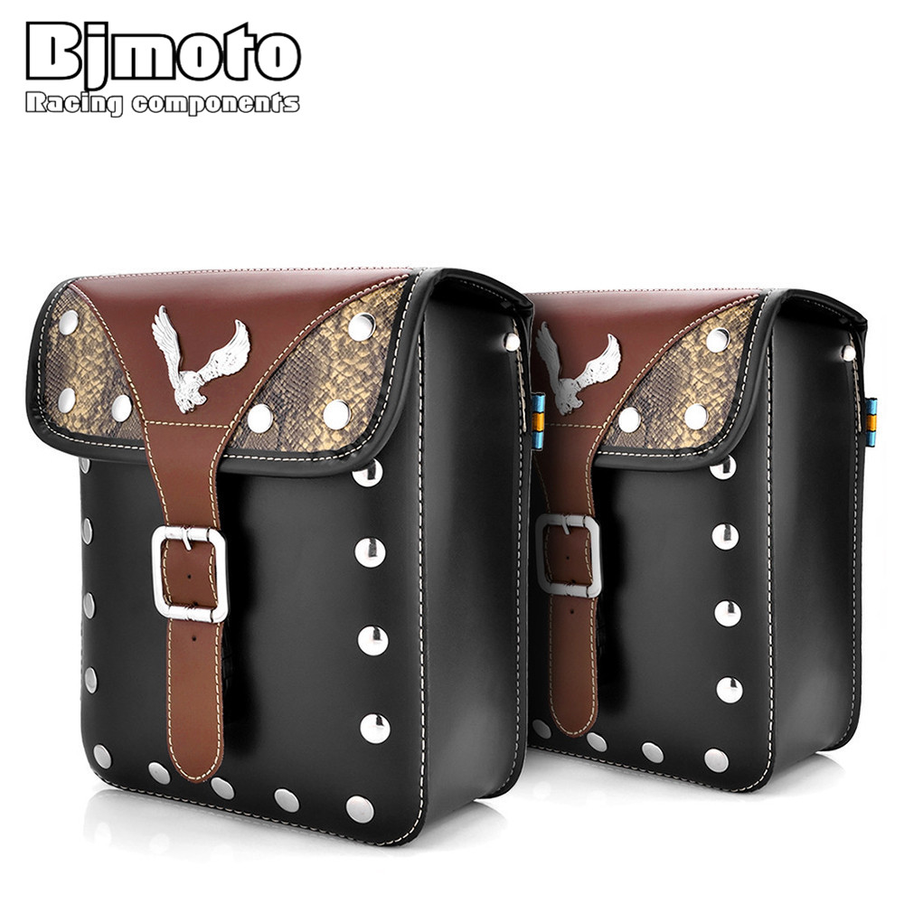 BJMOTO Universal PU Leather Motorcycle Saddle Bags Large Capacity Motorbike Bike Side Tool Bag Moto Luggage Saddlebag For Harley motorcycle capacity luagge side bag leather saddle bag dual sport bike chopper