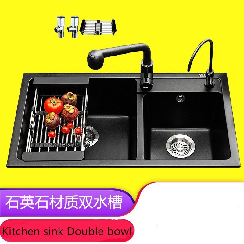 Gootsteen Graniet Zwembad, Aanrecht, Duitse Dikke Kwarts Stenen Gootsteen Dubbele Kom, Zwart Multifunctionele Wassen Wastafel, 20 cm Dikker Sink - 3