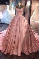 CJ0928001 Sleeveless Ball Gown Wedding Dresses Sweetheart Appliqued Robe De Mariage Long Train Taffeta Wedding Dress