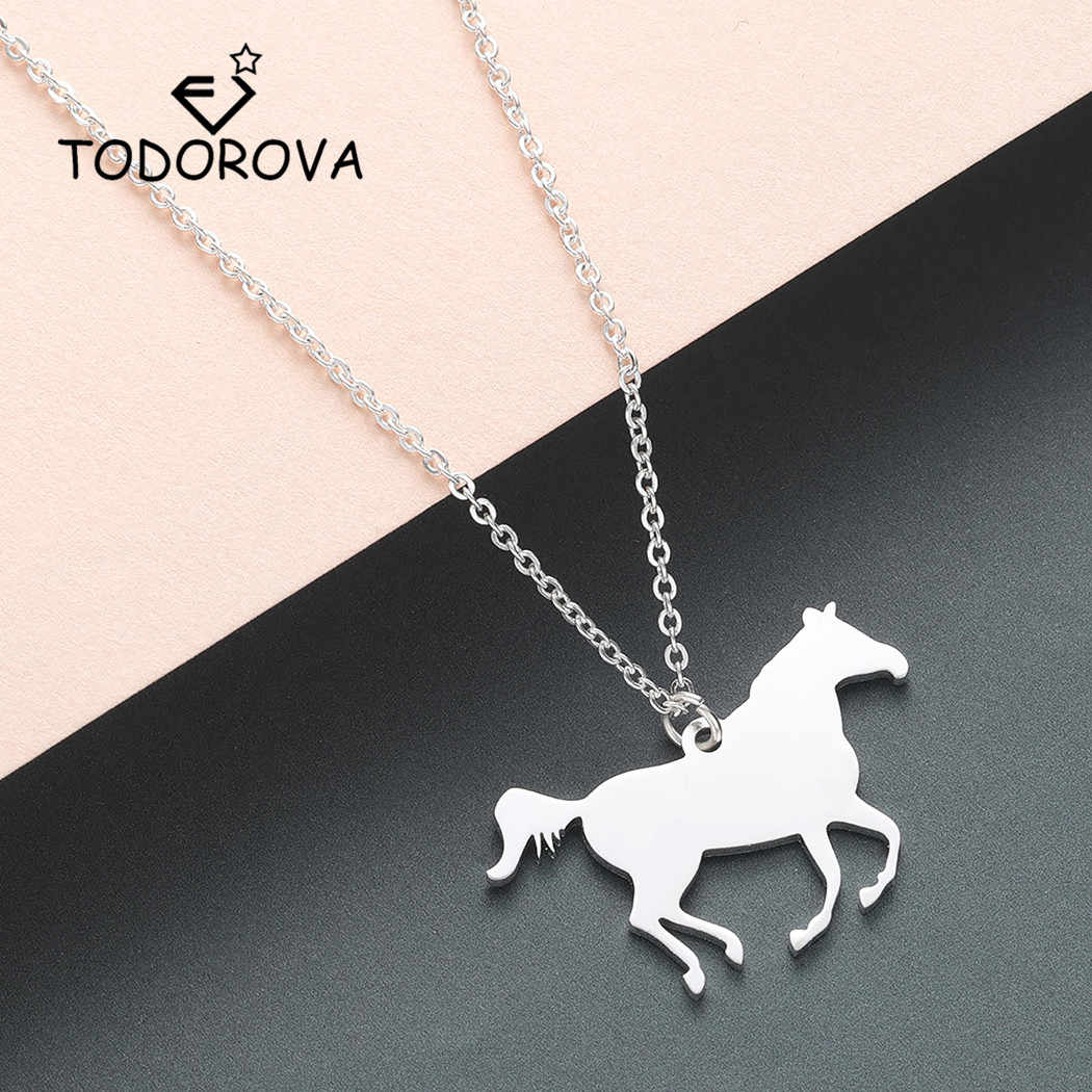 Todorova Racing Horse Pendant Necklace Women Personalized Animal Long Necklace Running Rodeo Riding Necklace Men Jewelry