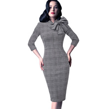 فستان فورمال أنيق ملابس عمل رسمية بربطة فيونكة من الرقبة