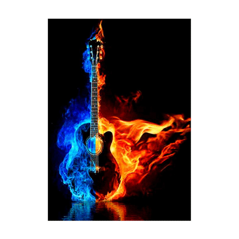 Music is the soul of guitar diamond painting DIY cross stitch embroidery rhinestone home decoration art