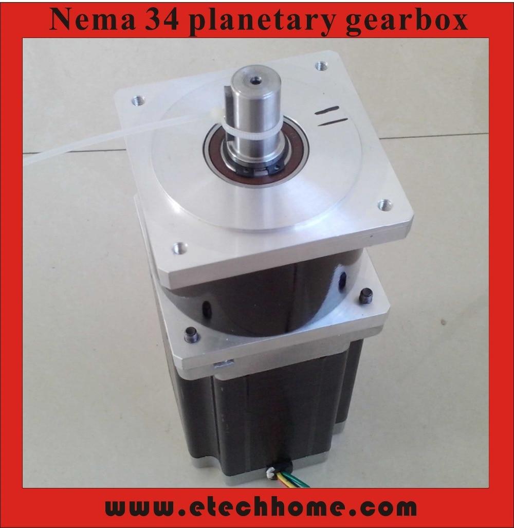5:1 NEMA34 Planetary Reducer Stepper Precesion Model Geared Stepper Motor Body Length 98 mm high precision nema 34 planetary stepper motor 126mm motor length nema34 geared stepper ratio 15 20 25 50 100 1