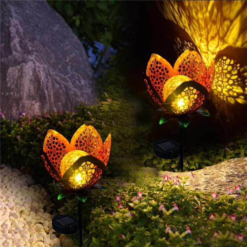 LED Solar Garden Light 1/2/4PCS Flower Lamp IP65 Iron Craft Decoration Lamps Lawn Landscape Decoration Waterproof Night Light