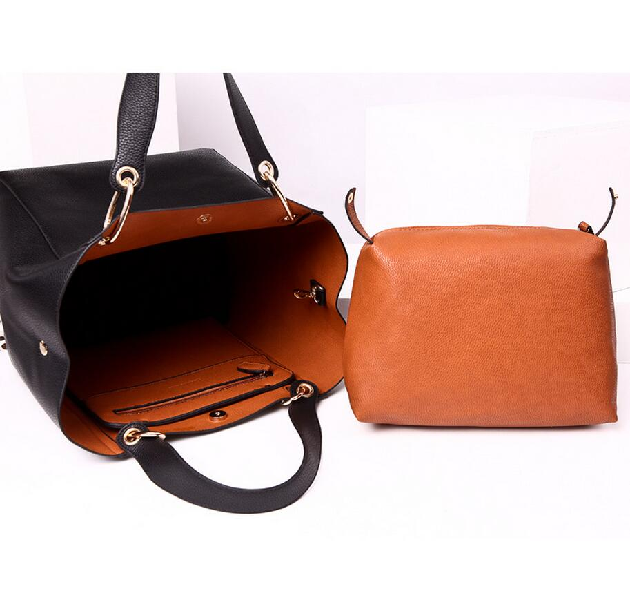 Women messenger bags leather luxury handbags women bags designer vintage big size tote shoulder bag high quality bolsos in Top Handle Bags from Luggage Bags