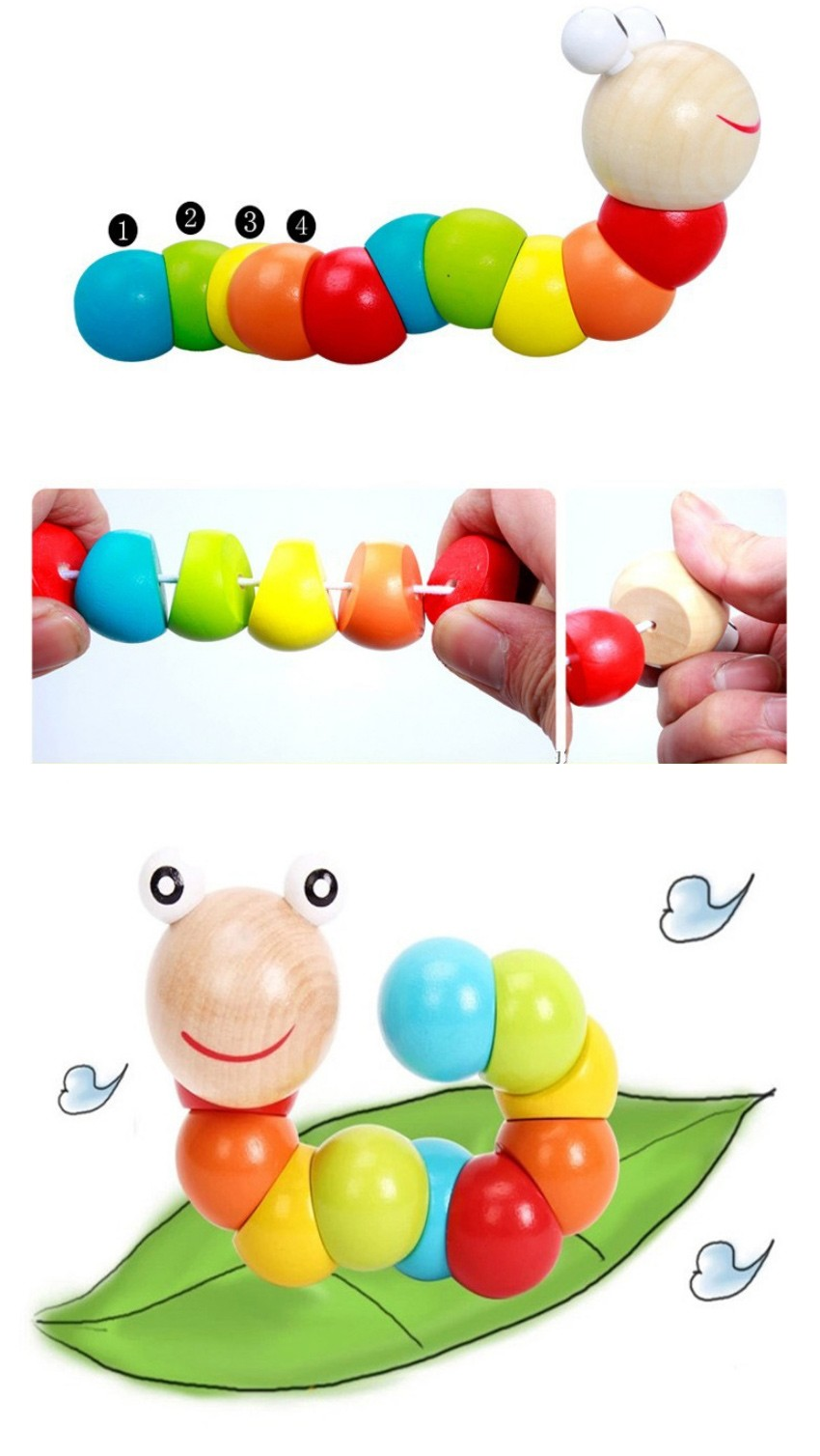 Colorful Insects Puzzles Kids Educational Wooden Toys Baby Children Fingers Flexible Training Science Twisting Worm Toys 5