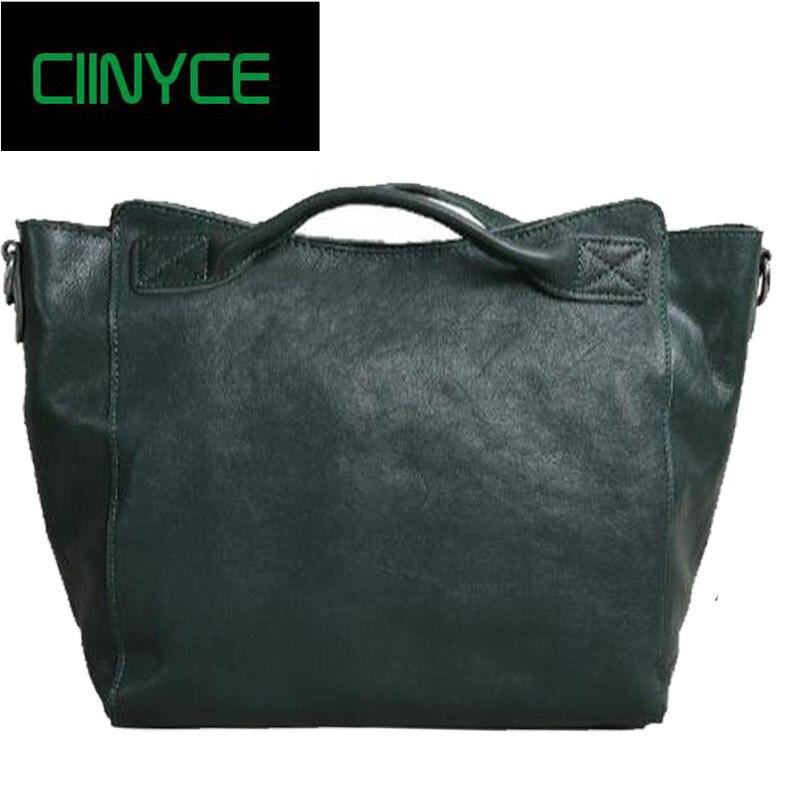 2018 Fashion Women Genuine Leather Bag Casual HOBO Women Shoulder Bag Soft Large Bucket Shopping Bag First Skin Cowhide Bag Tote