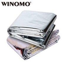 WINOMO, 2 шт., 210x130 см, теплое одеяло для выживания на открытом воздухе, аварийное спасательное, складное, водонепроницаемое, теплоотражающее, майларовая пленка, термальная