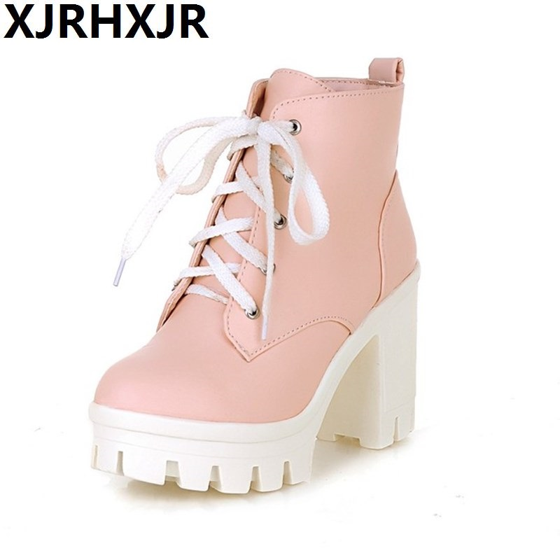 Korea Style Sweet Ankle Boots Lace Up Round Toe High Heels Women Martin Boots Fashion Square Heel Casual Autumn Winter Short free shipping south korean style winter new nubuck fashion high heels round toe side zipper lace up riding boots women boots