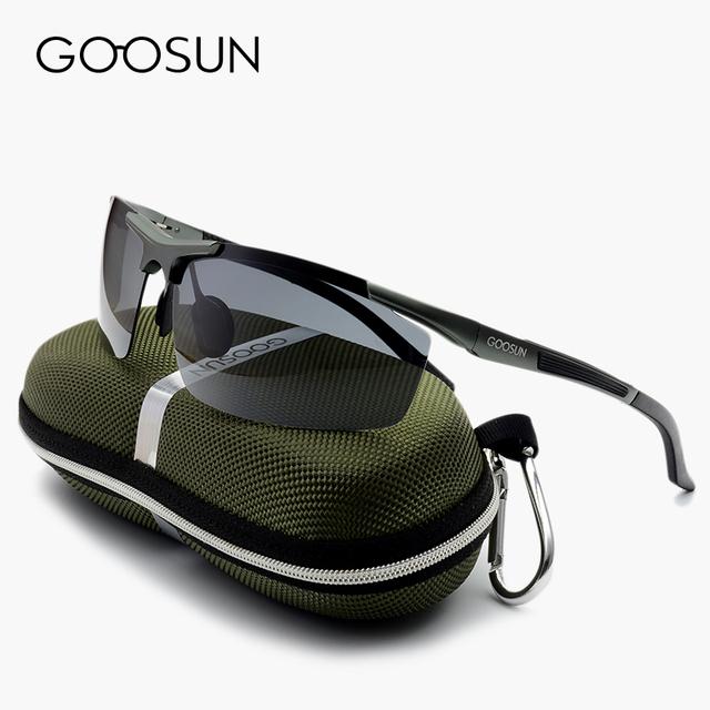 GOOSUN Aluminio gafas de Sol Polarizadas de Los Hombres Diseñador de la Marca sport Driving espejo Gafas de Sol Con Caja de gafas gafas de sol masculino