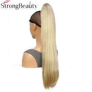 Image 4 - StrongBeauty extensiones de cabello con Clip para cola de caballo, largo sintético, recto