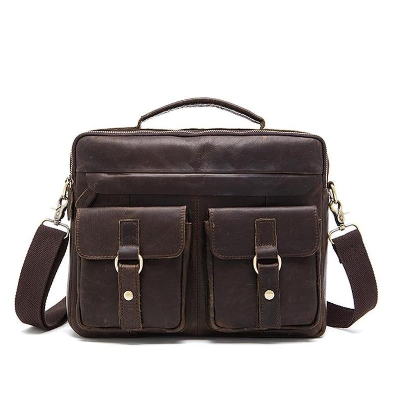 Bagaj ve Çantalar'ten Çapraz Çantalar'de Erkekler vintage iş dizüstü Çanta Evrak Çantası Messenger Hakiki Deri tote erkek bavul 2 cepli maleta masculina'da  Grup 1