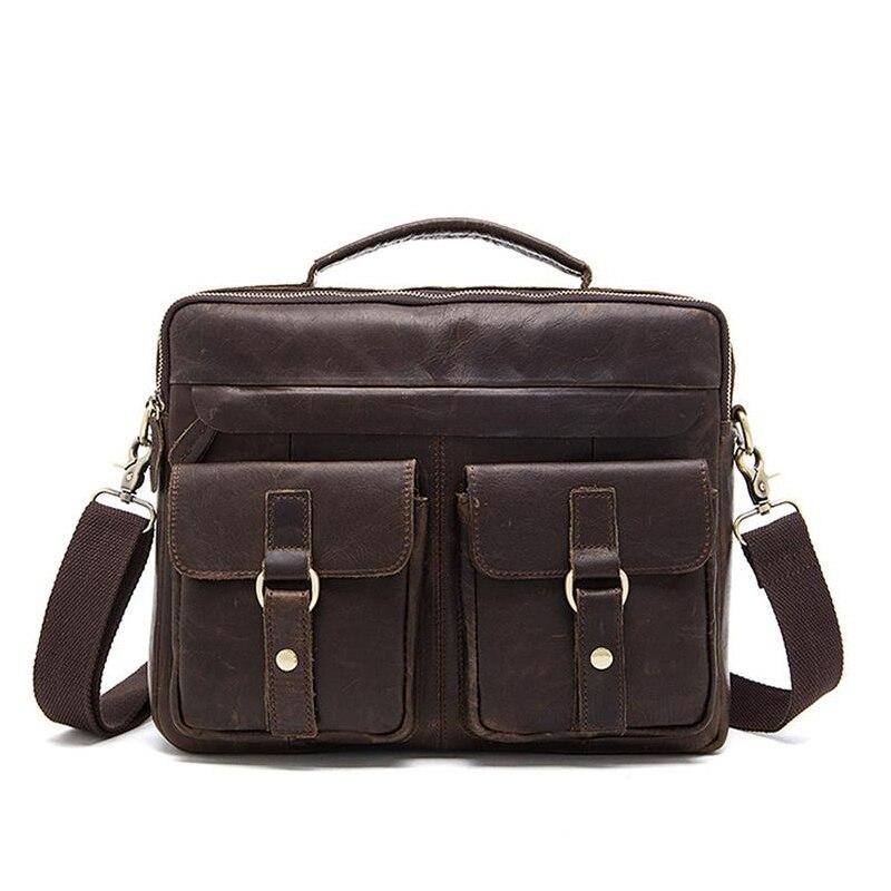 Hombres vintage computadora portátil bolsas maletines mensajero de cuero genuino bolsos hombres maleta con 2 bolsillos maleta masculina-in Bolsos bandolera from Maletas y bolsas    1