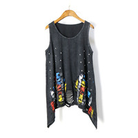 New Fashion 2017 Summer Women T Shirt European Rock Harajuku Rivets Graffiti Print O Neck Sleeveless