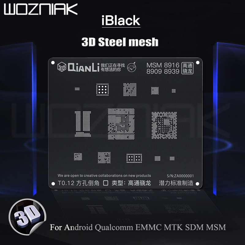 QIANLI IBlack 3D Steel Mesh For Android Qualcomm EMMC MTK SDM MSM Tin Planting Location Black Mesh Best Template Net