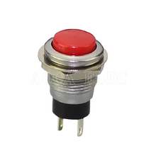 100PCS DS-318 OFF-(ON) 250VAC 0.5A Red,Green,Black 12MM SPST 2pin Momentary IP40 Small Metal Push Button Switch 4pcs set black red green yellow 12mm mini round waterproof lockless momentary push button switch