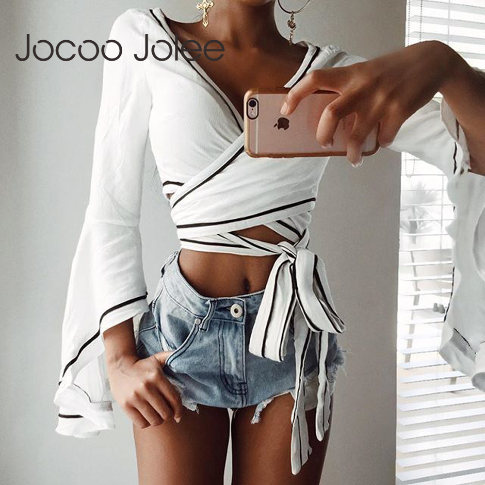 Jocoo Jolee Sexy Deep V-Neck Women Tops with Flare Long Sleeves Design Women Summer Lace up Street Wearings 2018 New Arrivals