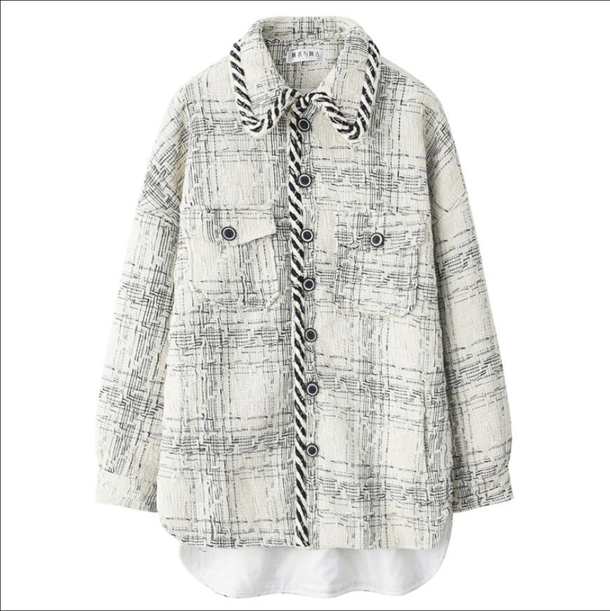 Novo inverno solto estilo coreano japonês simples padrão de impressão jaqueta juventude dos homens bonito lapela jaqueta hairstylist casaco - 5