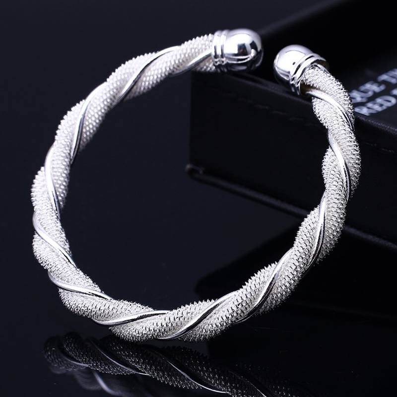Silver Braided Open Bracelets European Style Metal Weaving Personality Bangle Charming Christmas Gift