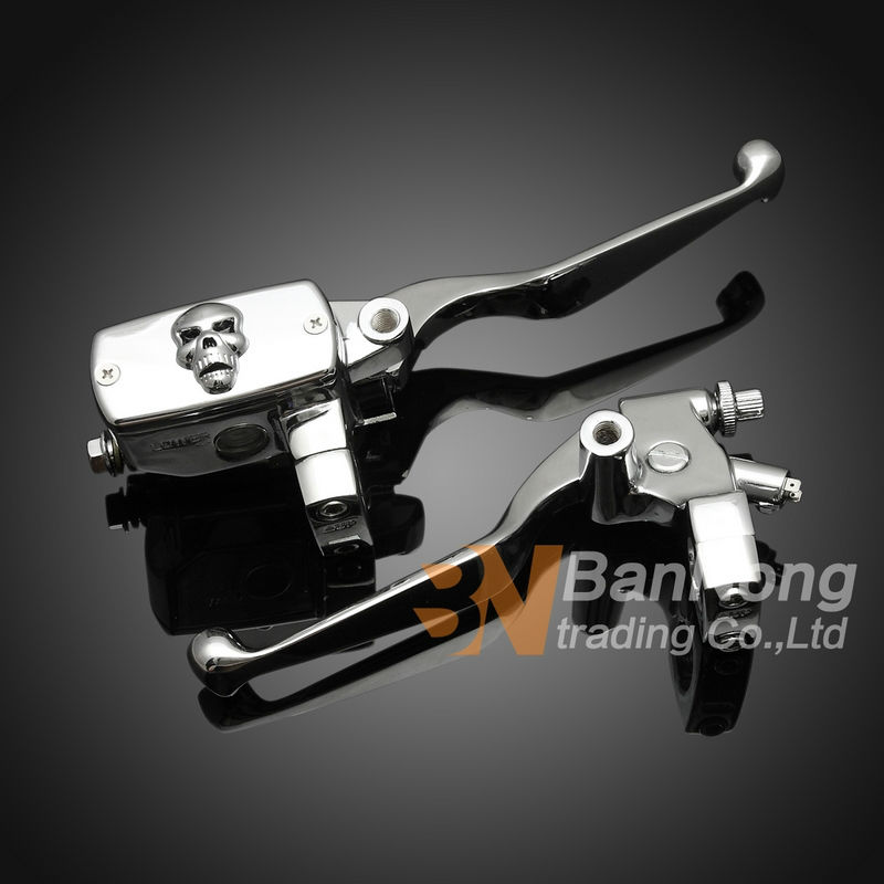 Free shipping 25MM Chrome Skull Clutch Lever brake pump Master Cylinder For HONDA Magna 250 750
