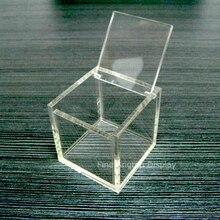 Купить с кэшбэком Acrylic collection organizer retail clear cube box 11x11x11cm favor box plexiglass wedding gift packaging for coffee capsules