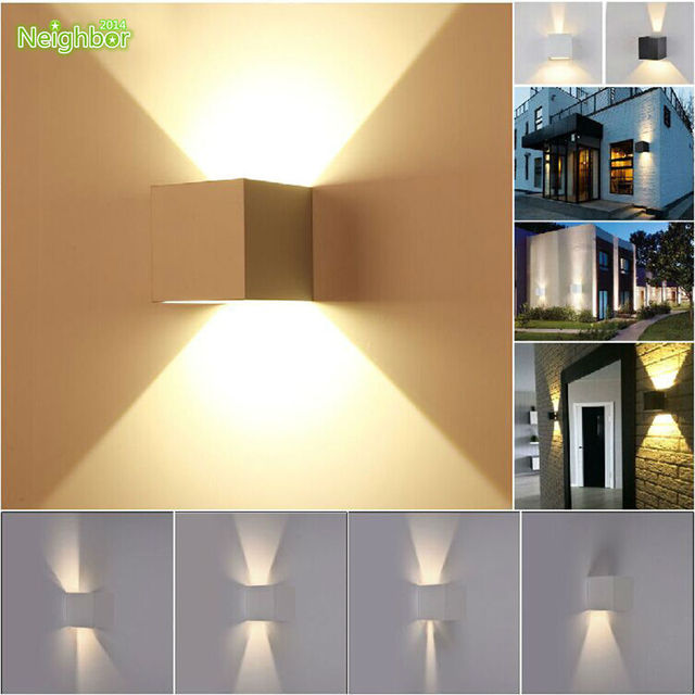 Modern 7W LED COB Bedroom Wall Light Up Down Cube Adjustable Angle Indoor Outdoor Sconce Lighting