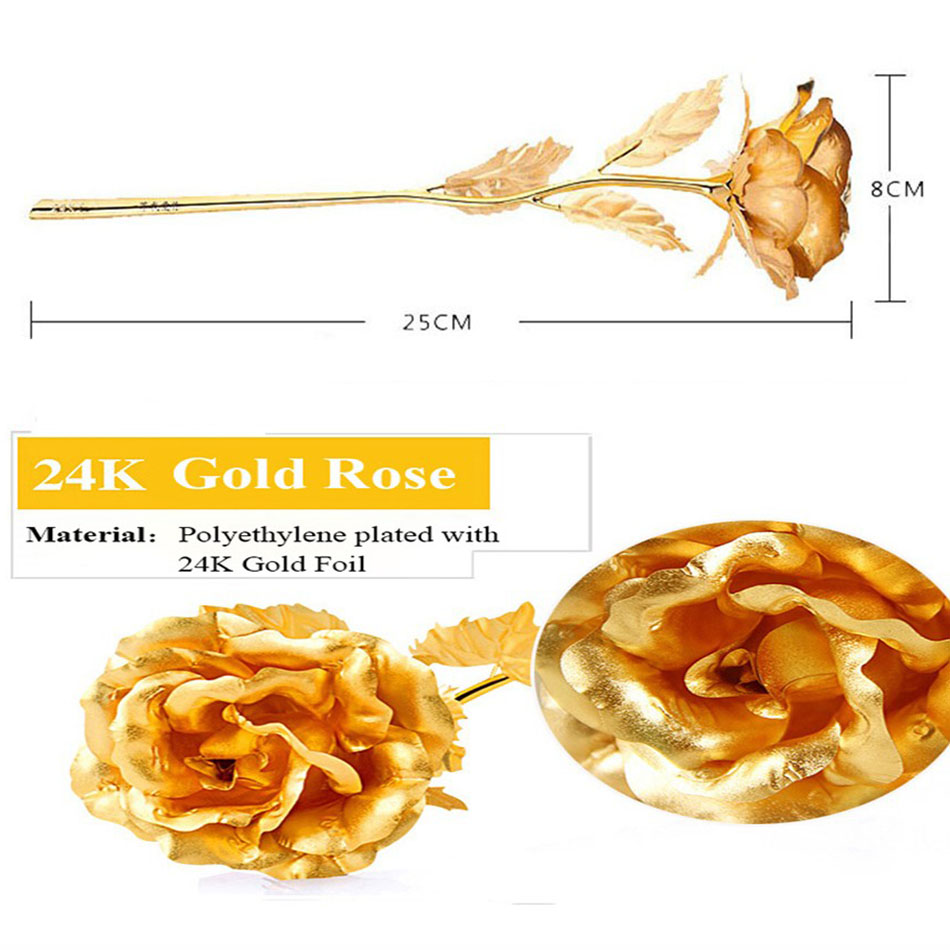 50pcs/lot 24k Gold Foil Plated Rose Wedding Golden Rose Gold Dipped 24k Gold Rose artificial flower wholesale Personalized 2