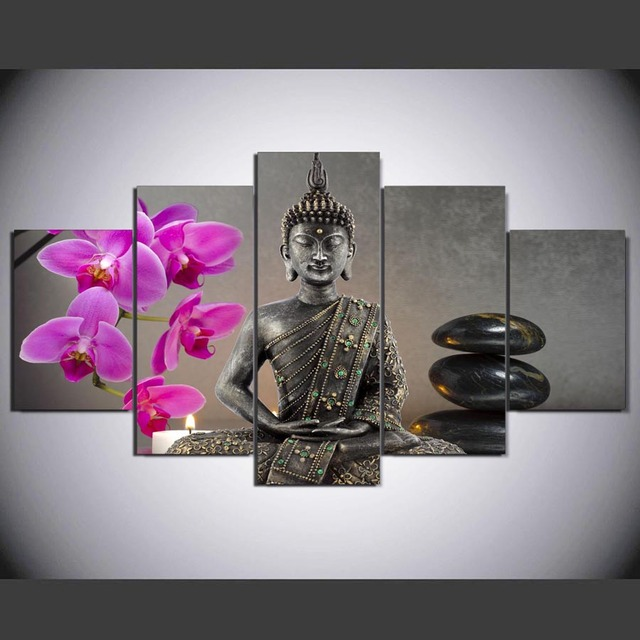 5 Panel HD Printed Painting Japanese Zen Garden Canvas Home Decor Wall Art  Picture For Living