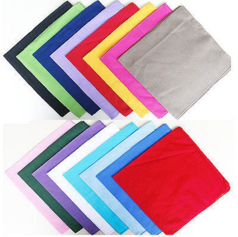 2018 New 100% Cotton Soild Plain Black White Navy Blue Red Color Bandanas For WomensMens Multi Colour Style  Wristband