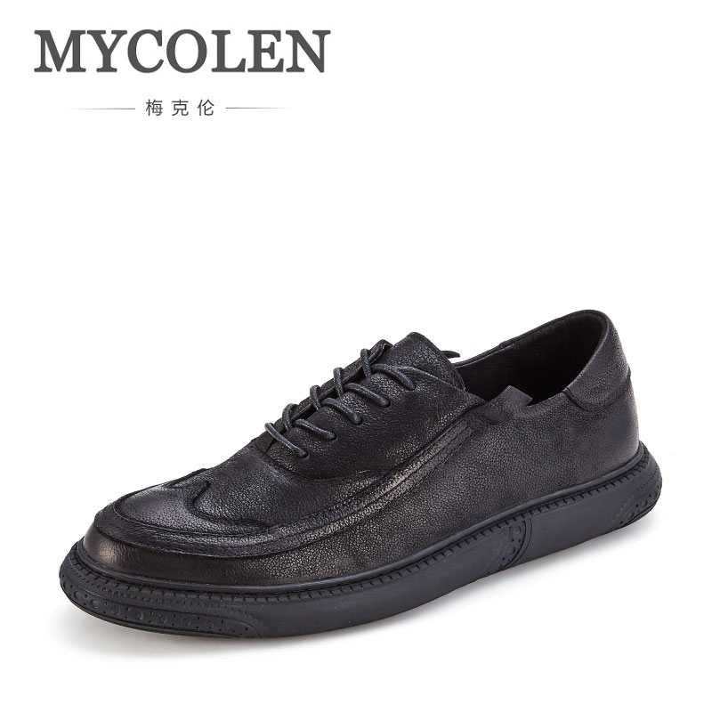 MYCOLEN Brand New Fashion Men High Quality Lace-Up Shoes Comfort Casual Hot Sale Male Handmade Shoes Mens Loafers Leather bexzxed new brand fashion comfortable men shoes lace up solid leather shoes men causal huarache shoes hot sale