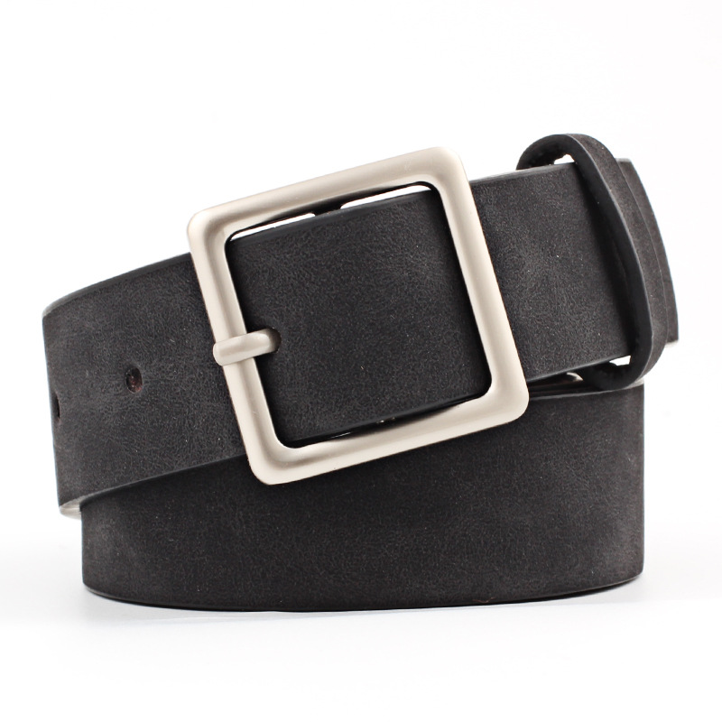 Badinka 2018 New Designer Black Red White Wide Suede Leather Belt Female Vintage Silver Square Buckle Waist Belts for Women Jean