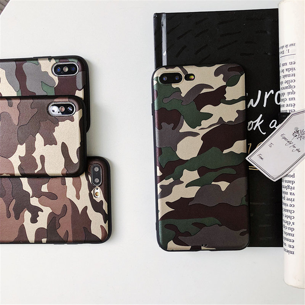 detailed look 459f5 be757 US $1.61 18% OFF|Fashion Retro Super Army Camo Marine Retro Camouflage Case  For iPhone X 10 Gold Green Color Army Leather Soft TPU Silicon Cover-in ...