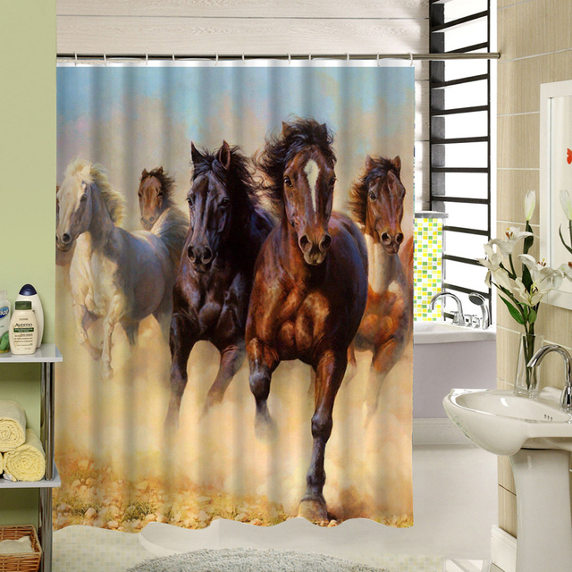 Horse Shower Curtain White Brown Polyester Fabric Bathroom Waterproof Designer Art 3d Printing