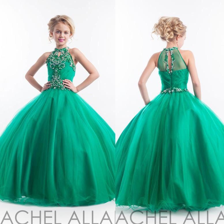 Vestidos de promocion color verde jade para ninas