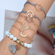 Bohopan 6PCS/Set Fashion Bracelets Set For Women Simple Moon/Heart/Map Female Elegant Natural Stone Bracelet Bangles